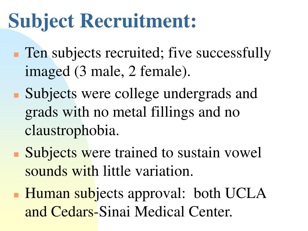 Subject Recruitment: