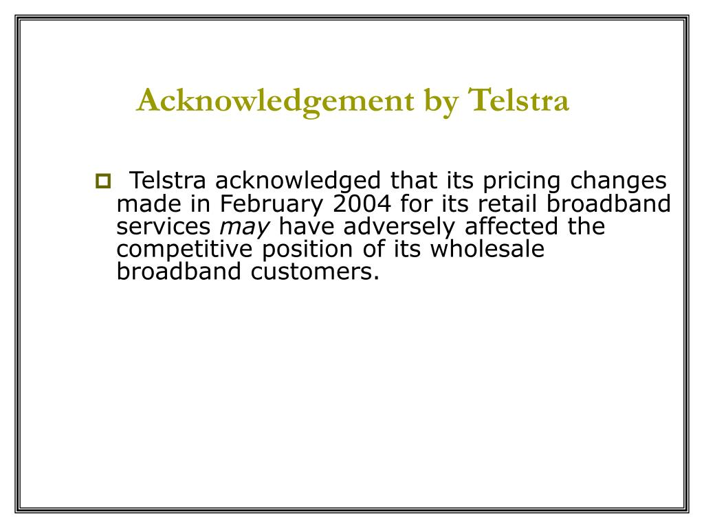 Acknowledgement by Telstra