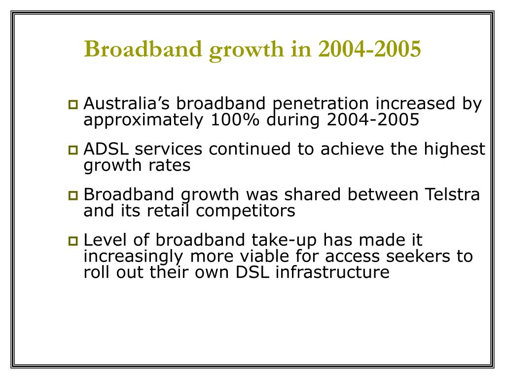 Broadband growth in 2004-2005