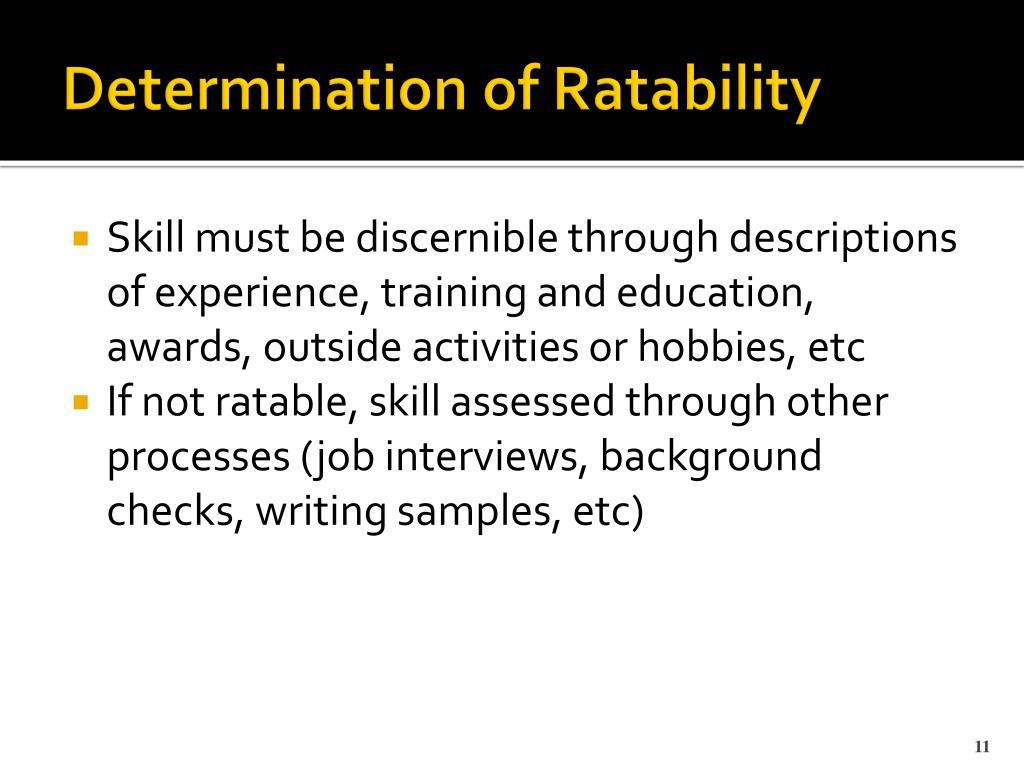 Determination of Ratability