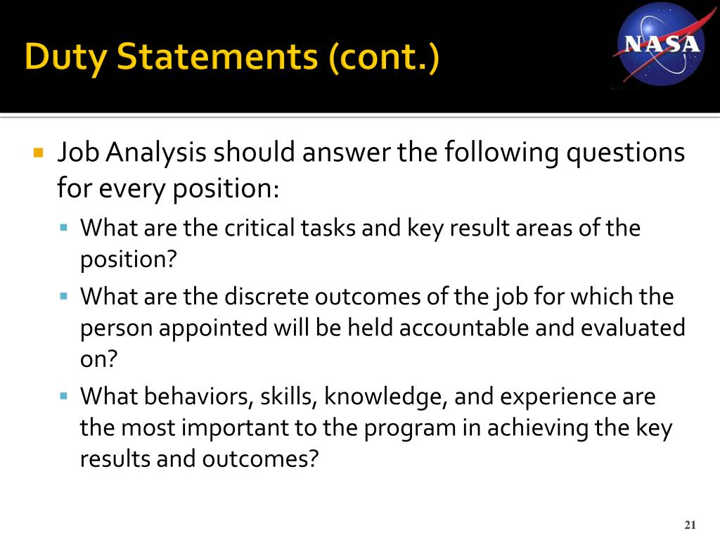 Duty Statements (cont.)