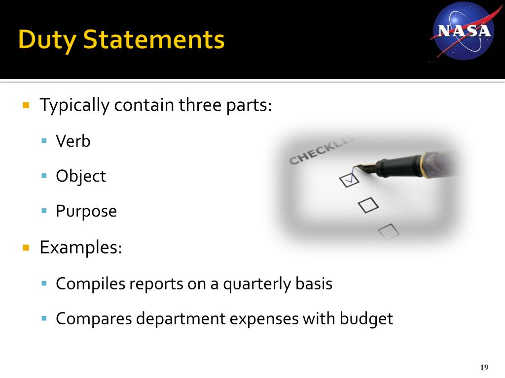 Duty Statements