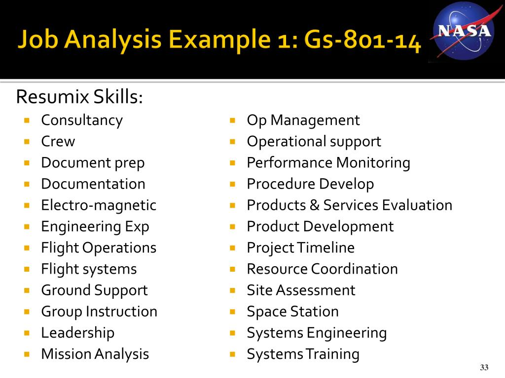 Job Analysis Example 1: Gs-801-14