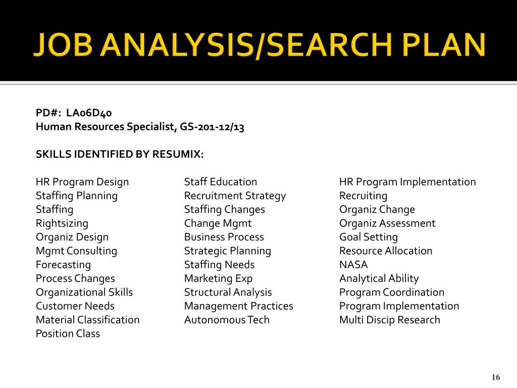 JOB ANALYSIS/SEARCH PLAN