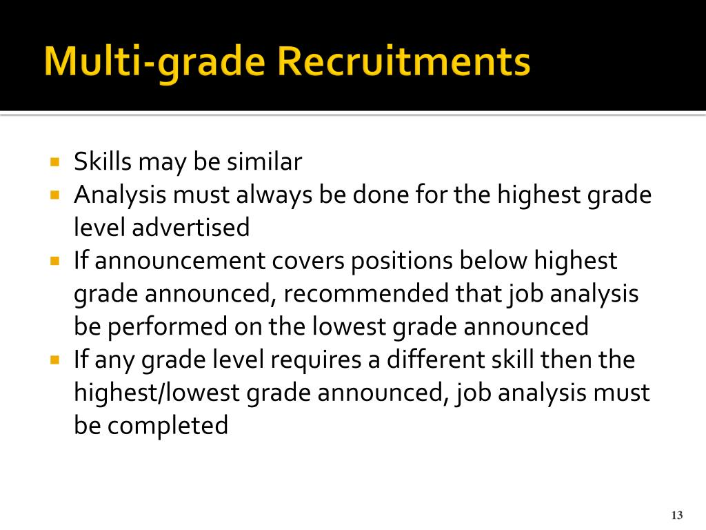 Multi-grade Recruitments
