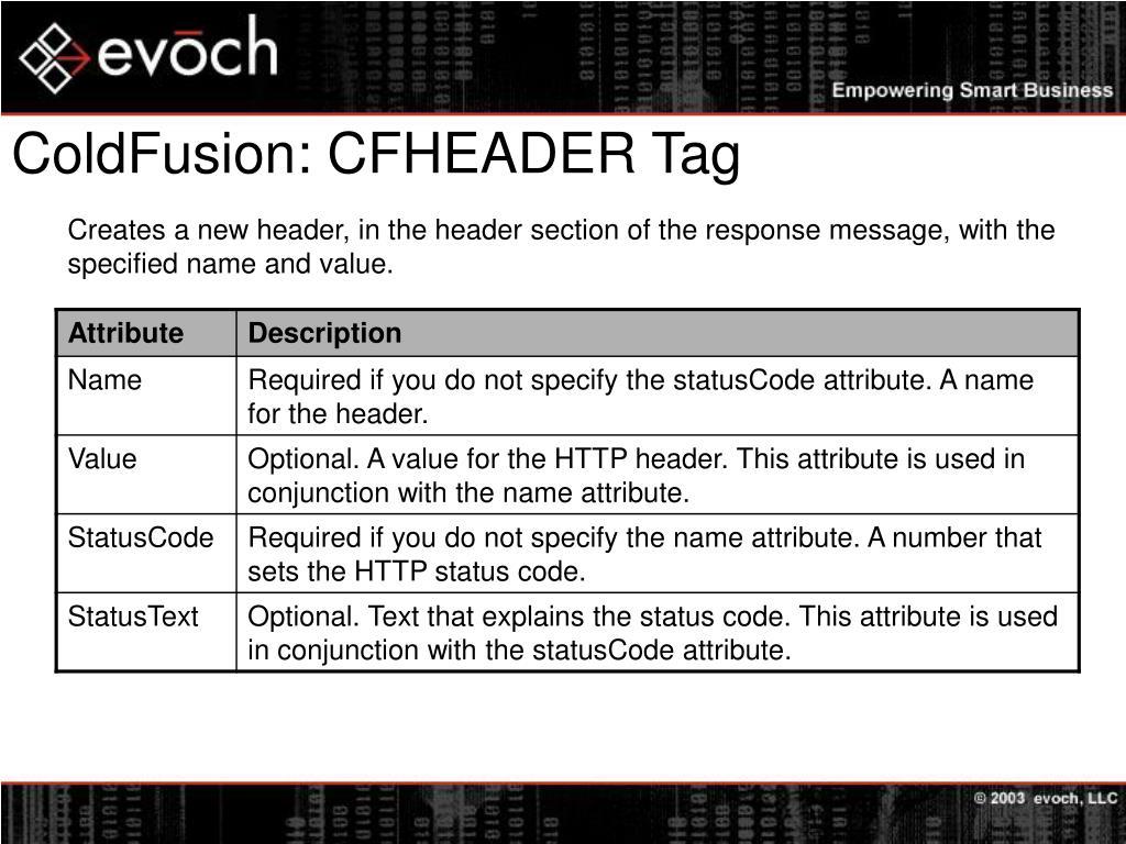 ColdFusion: CFHEADER Tag