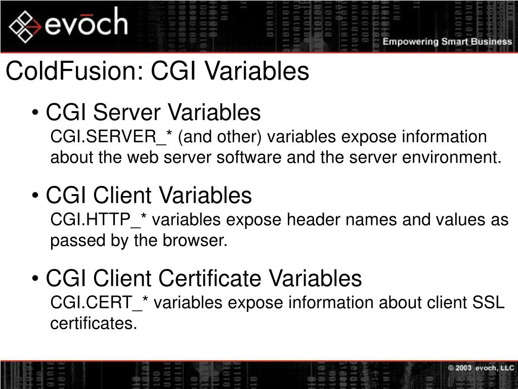 ColdFusion: CGI Variables