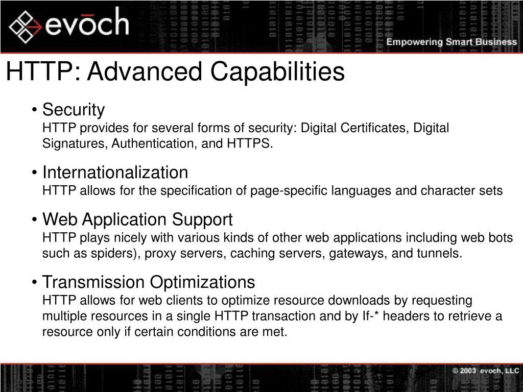 HTTP: Advanced Capabilities