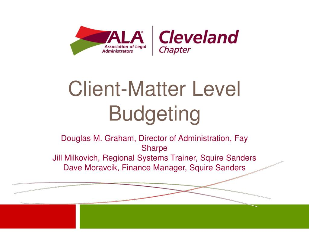client matter level budgeting