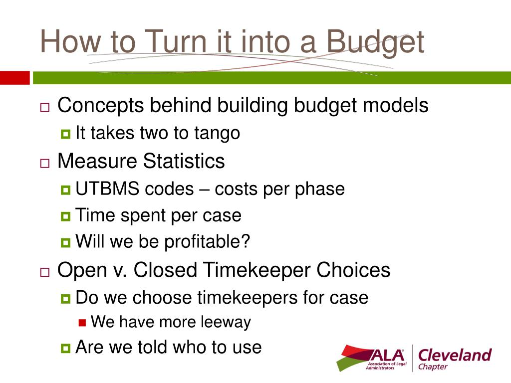 How to Turn it into a Budget