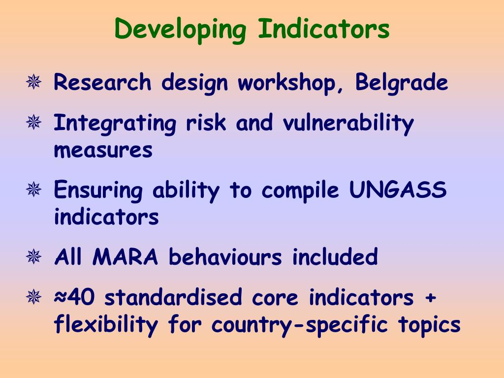 Developing Indicators