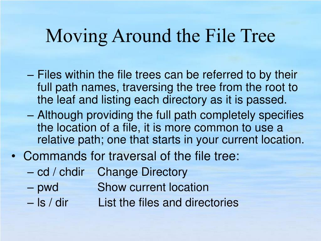 Files within the file trees can be referred to by their full path names, traversing the tree from the root to the leaf and listing each directory as it is passed.