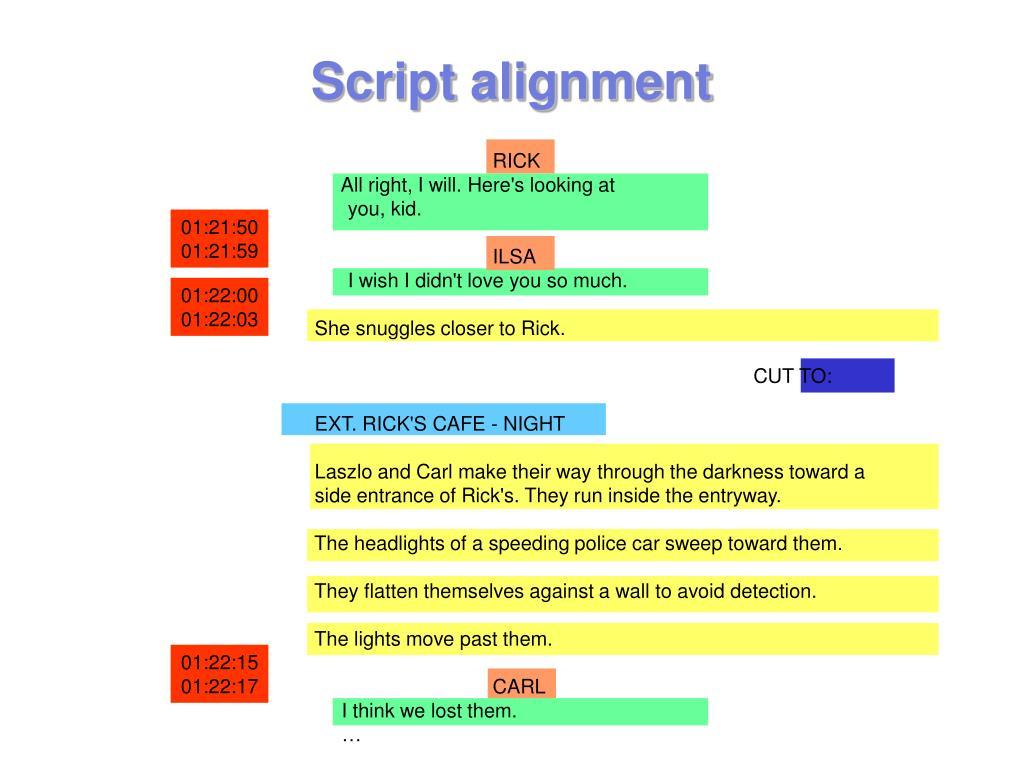Script alignment
