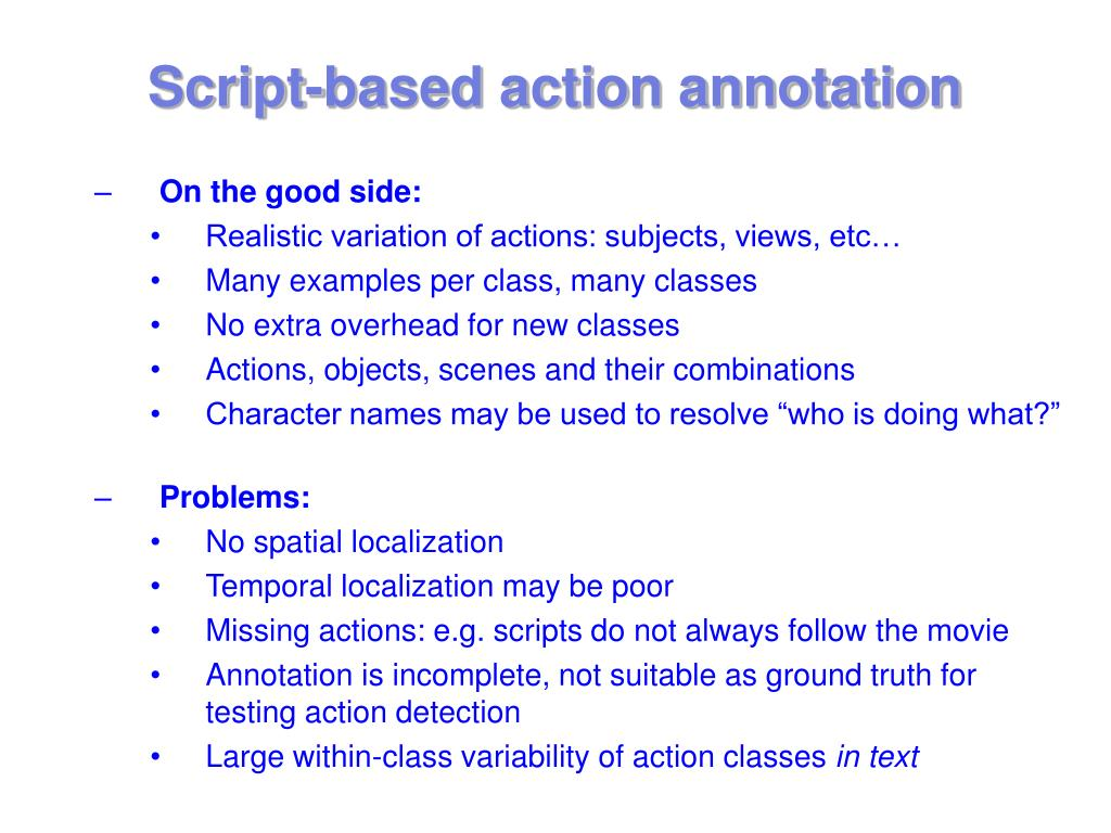 Script-based action annotation