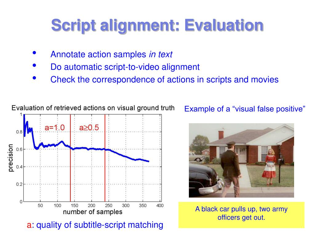 Script alignment: Evaluation