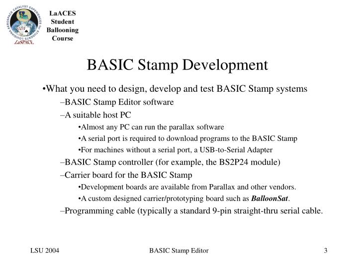 Basic stamp development