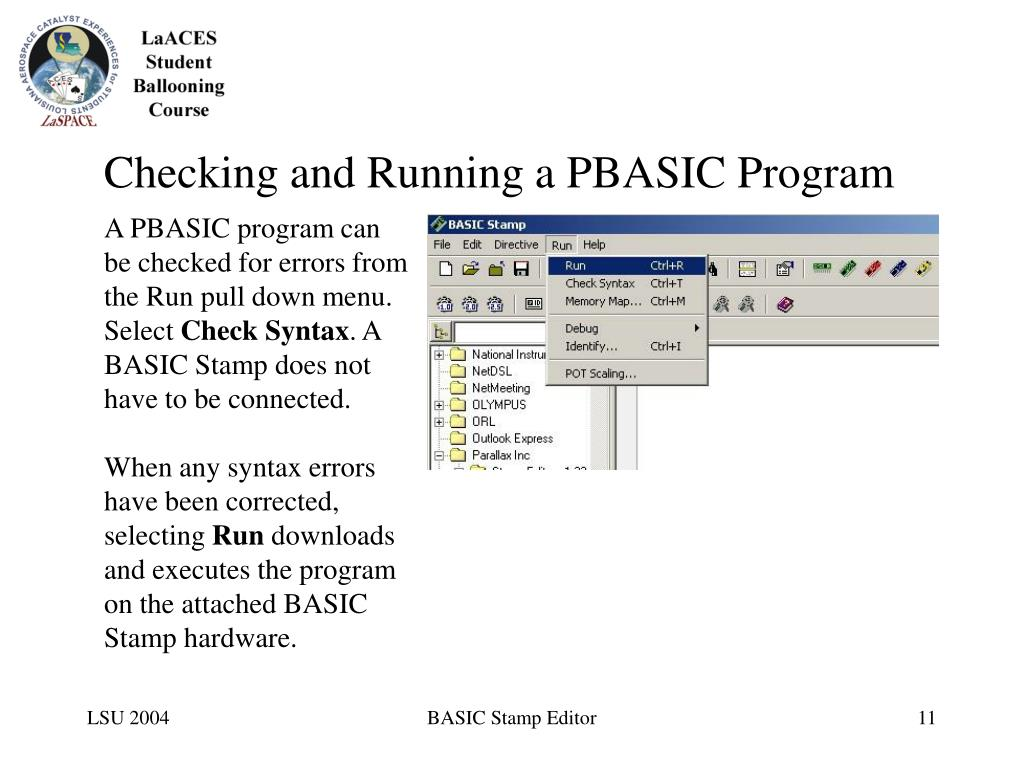 Checking and Running a PBASIC Program