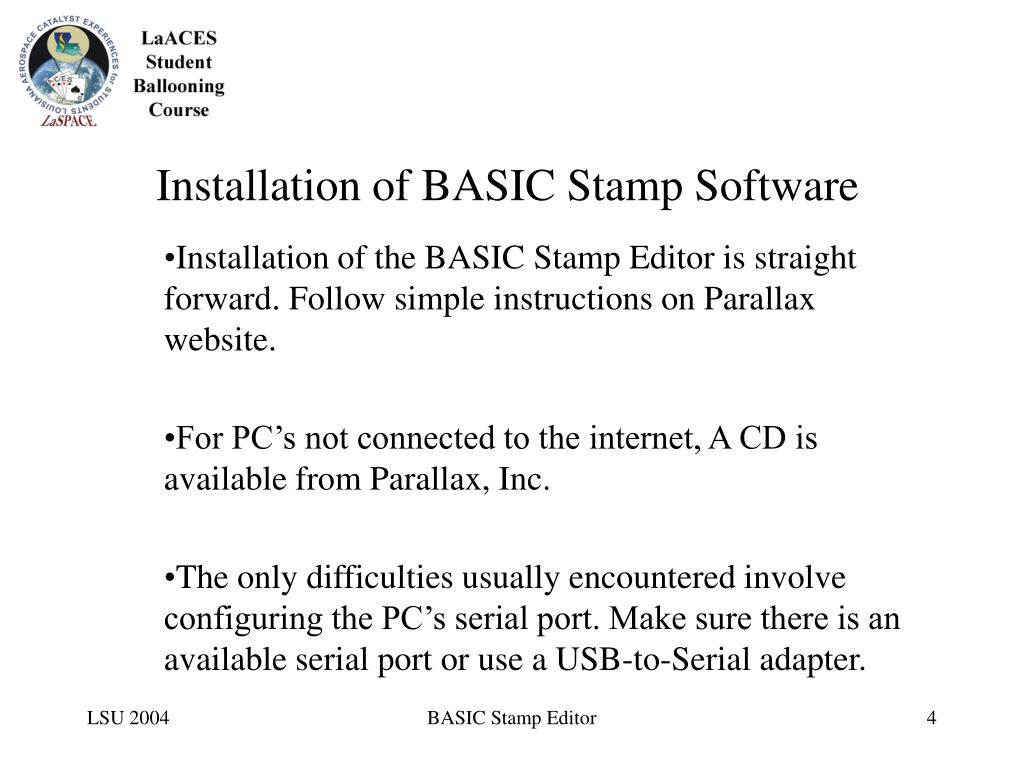 Installation of BASIC Stamp Software