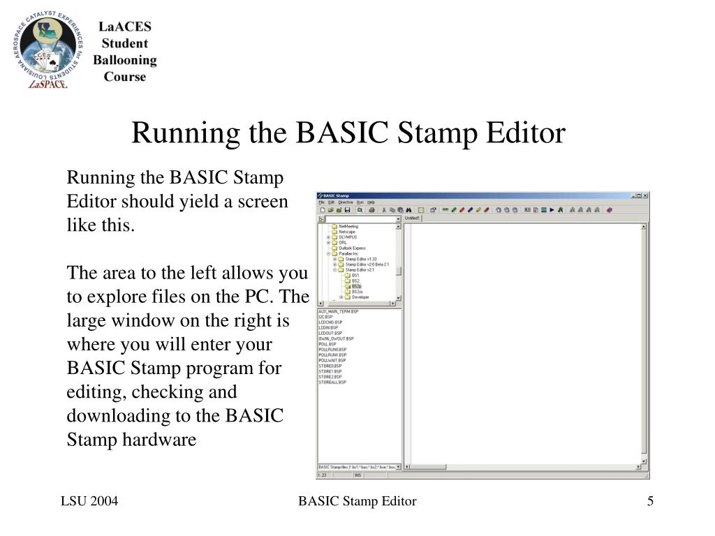Running the BASIC Stamp Editor