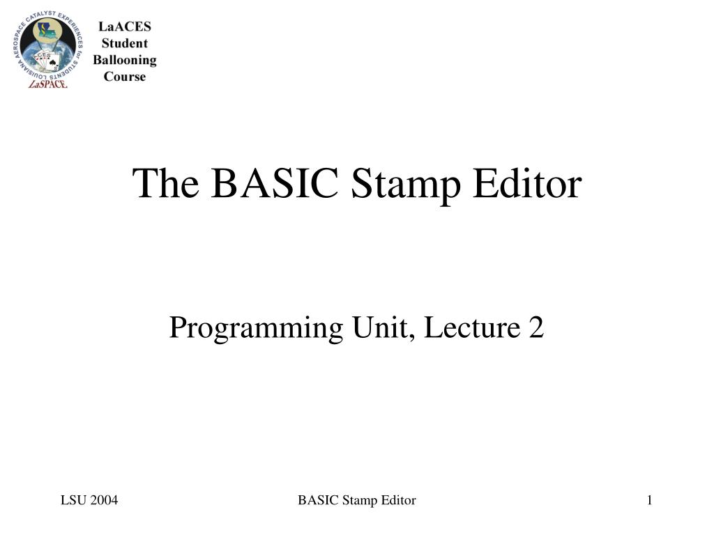 The BASIC Stamp Editor