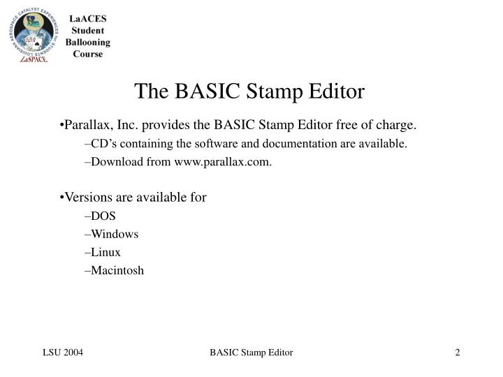 The basic stamp editor2