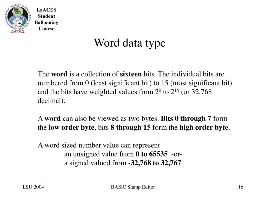 Word data type