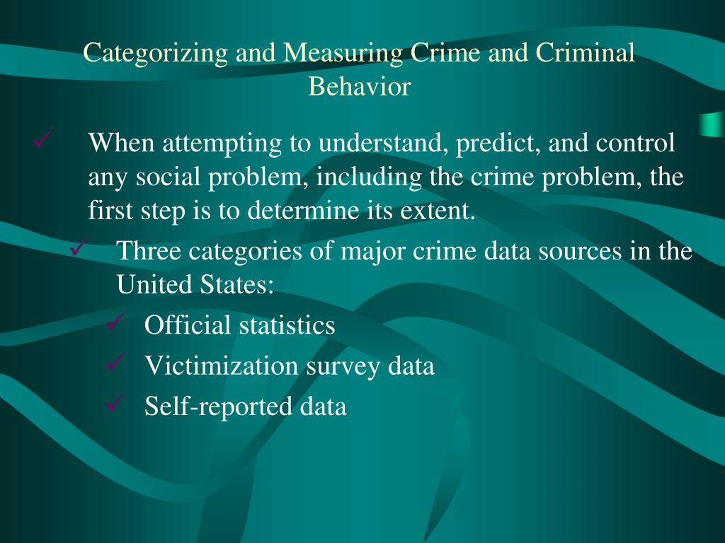 When attempting to understand, predict, and control any social problem, including the crime problem, the first step is to determine its extent.