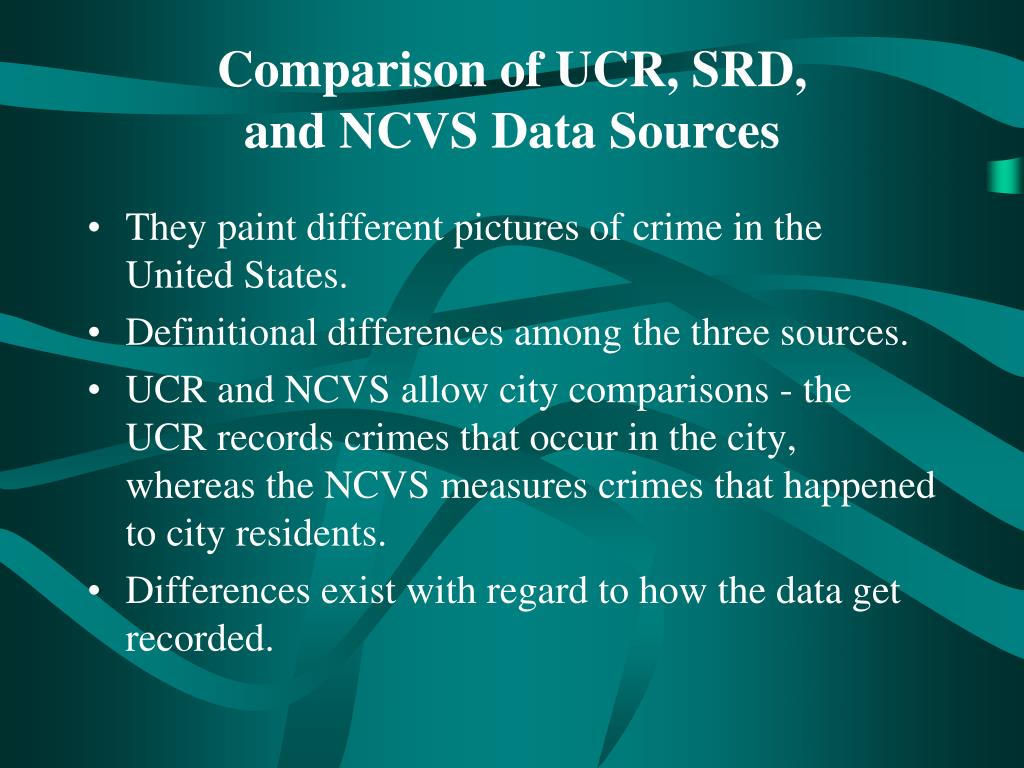 Comparison of UCR, SRD,