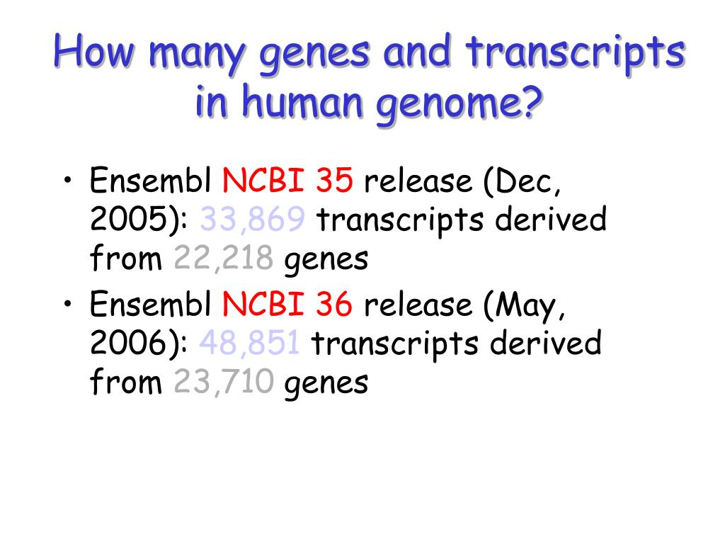 How many genes and transcripts in human genome?