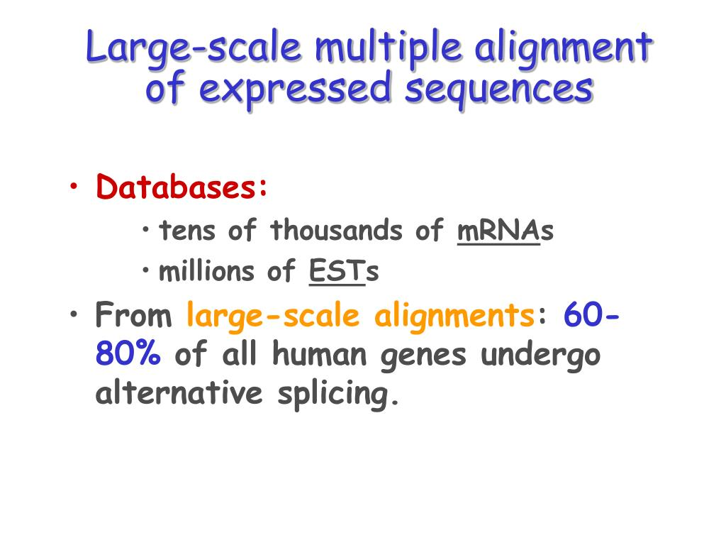 Large-scale multiple alignment of expressed sequences