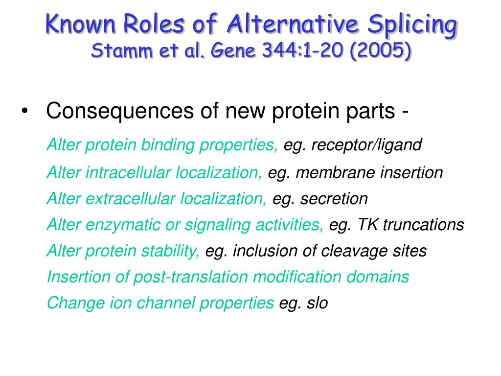 Known Roles of Alternative Splicing