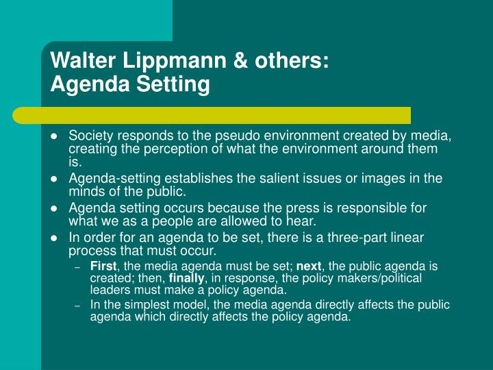 Walter lippmann others agenda setting