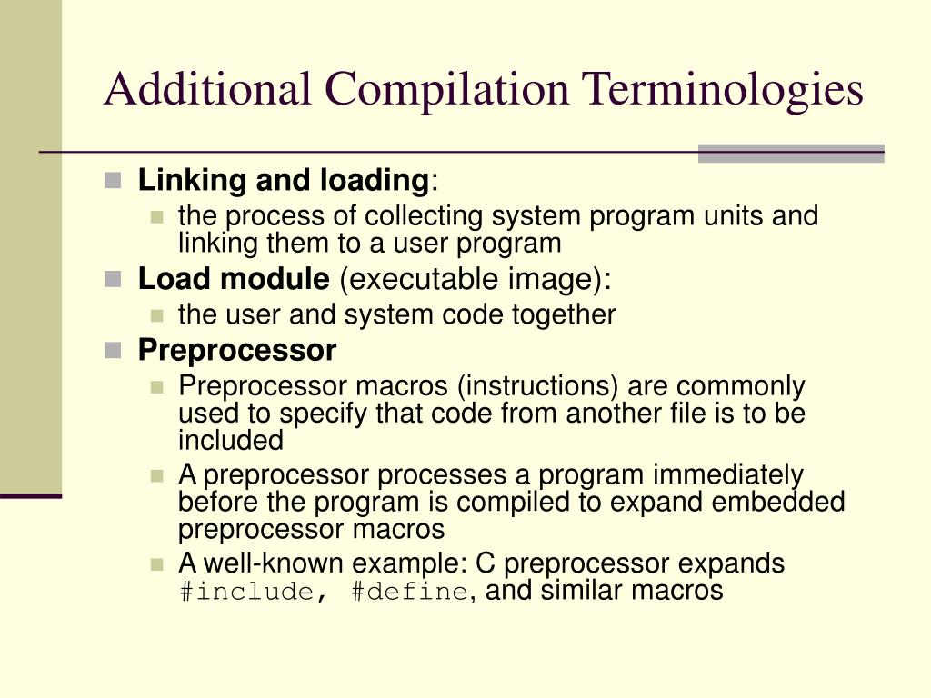 Additional Compilation Terminologies