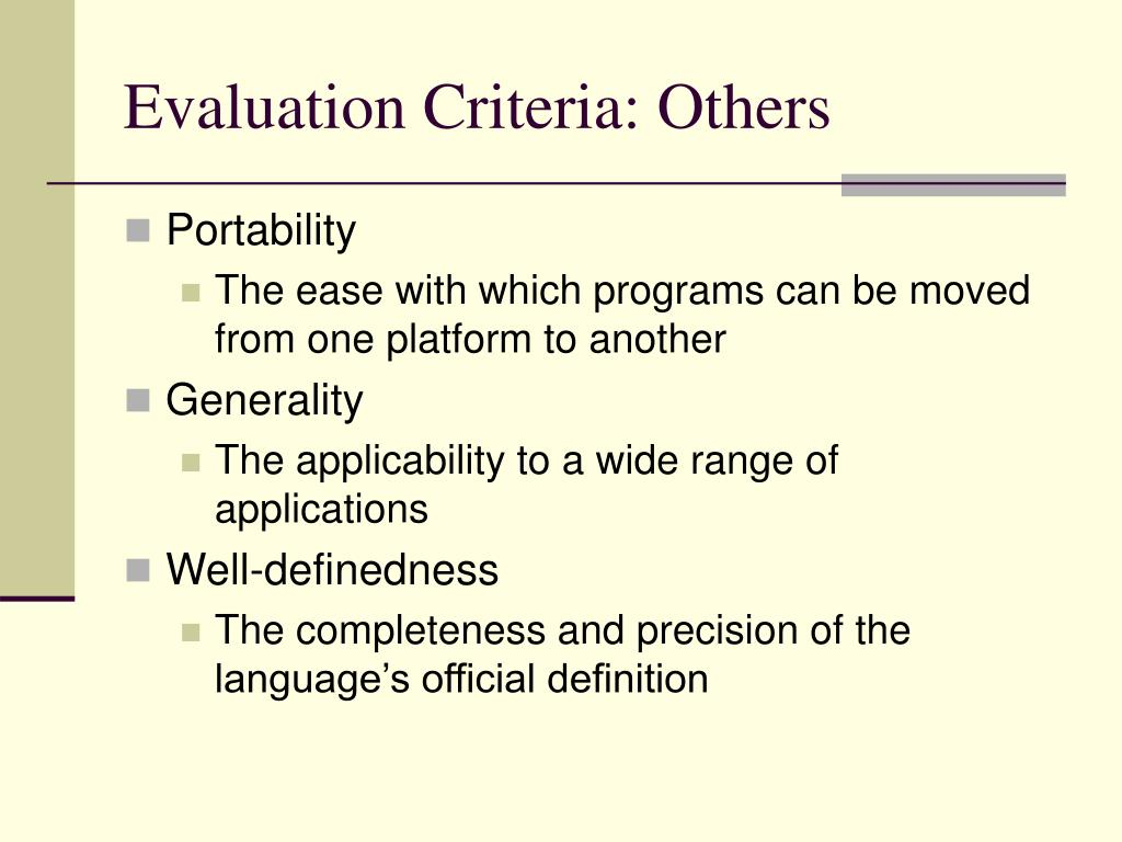 Evaluation Criteria: Others