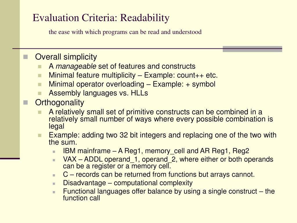 Evaluation Criteria: Readability