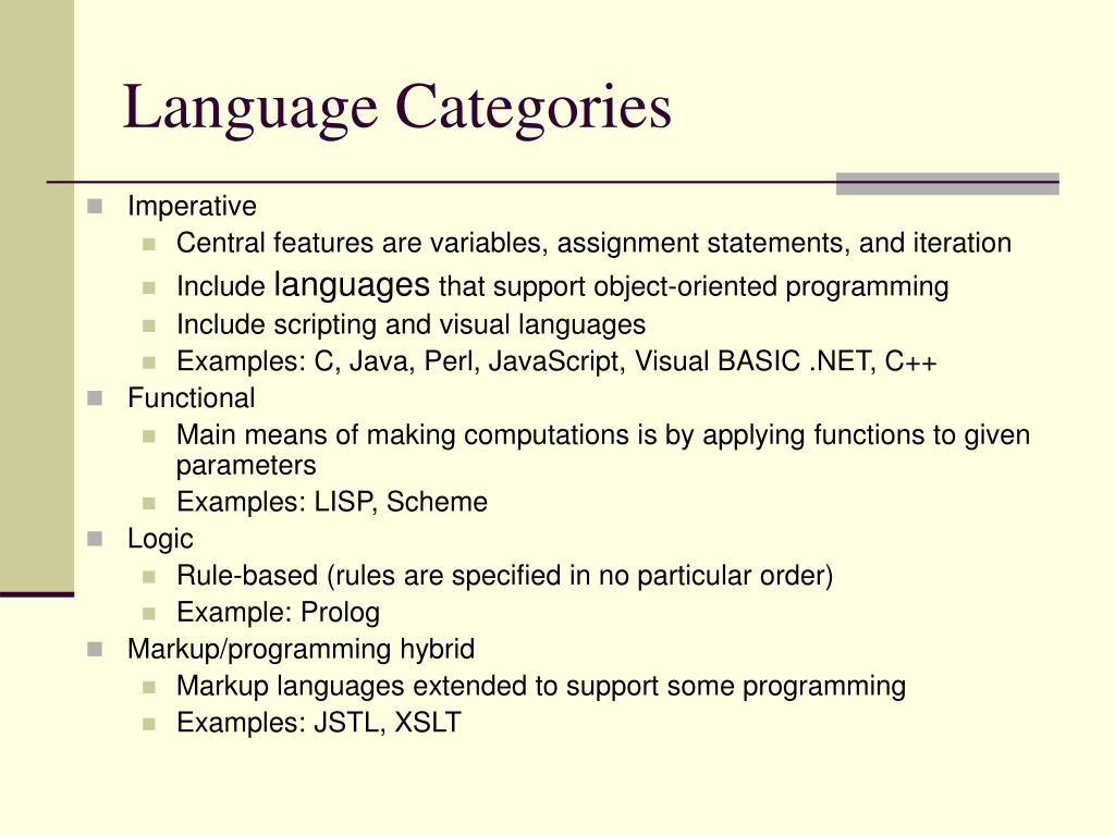 Language Categories