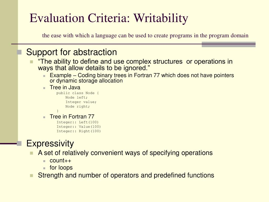 Evaluation Criteria: Writability