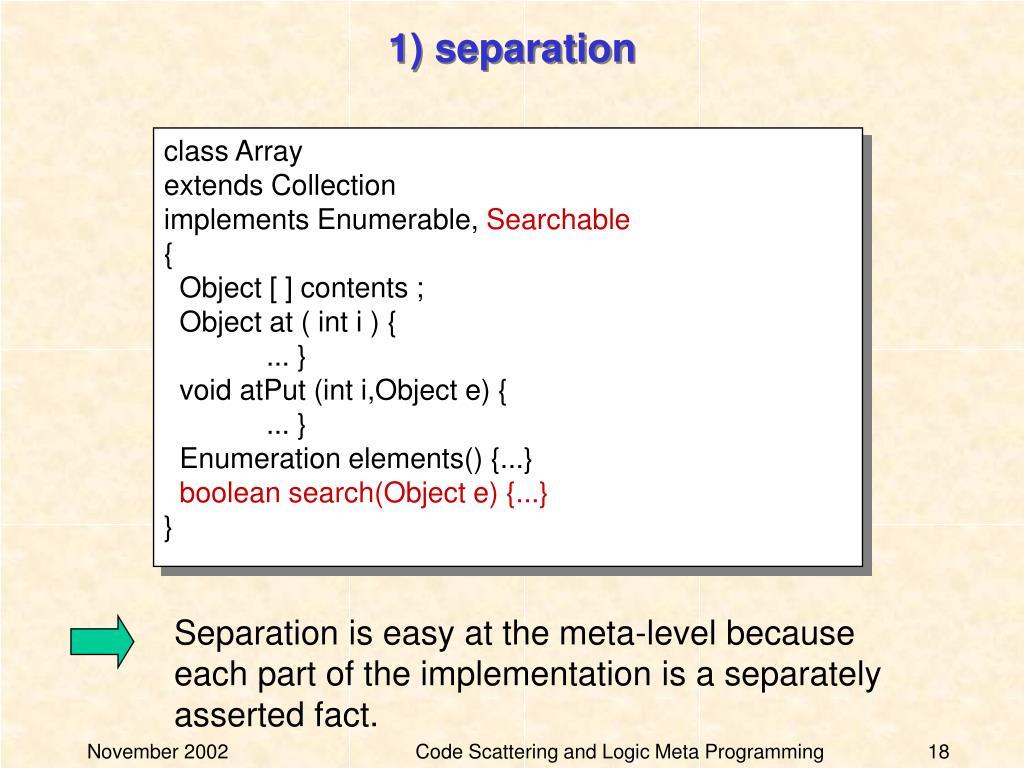 1) separation