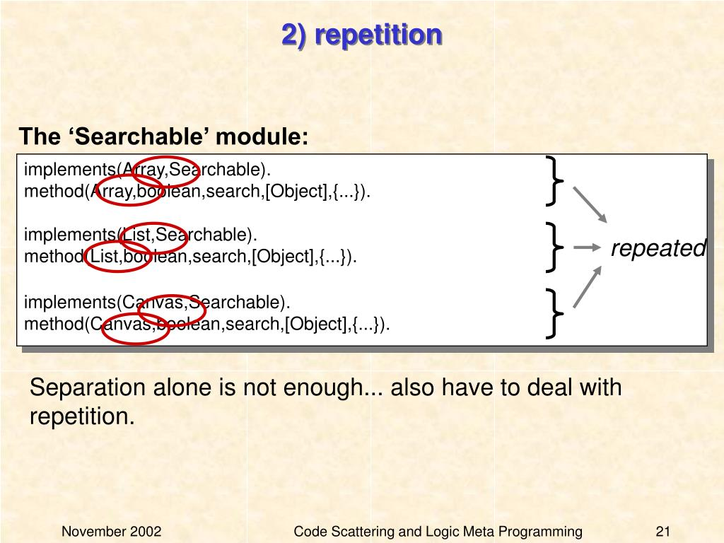 2) repetition
