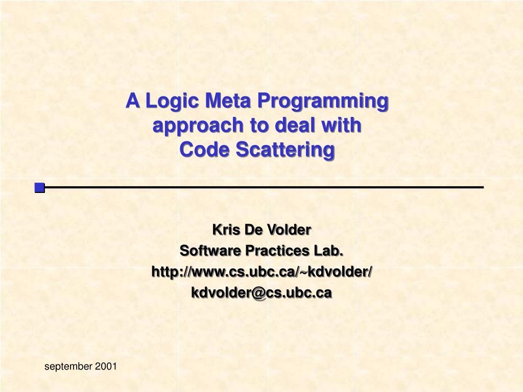 A Logic Meta Programming