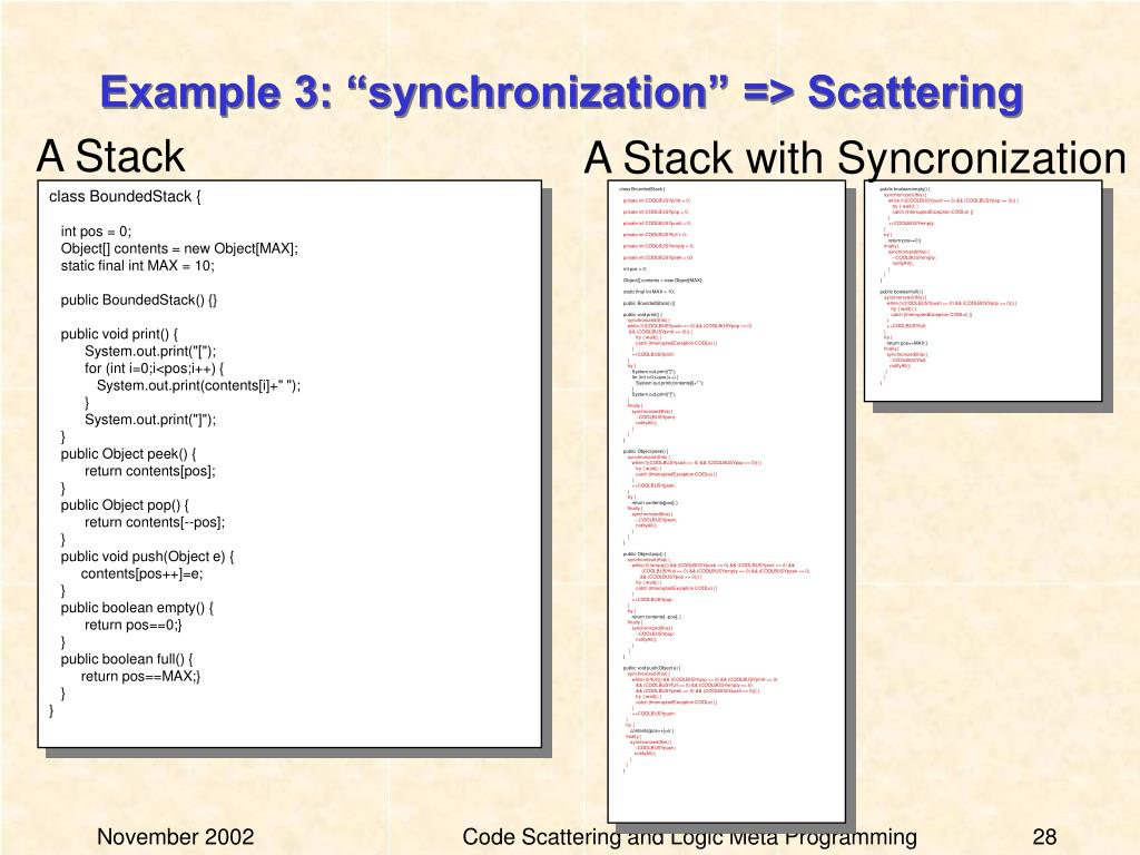 """Example 3: """"synchronization"""" => Scattering"""