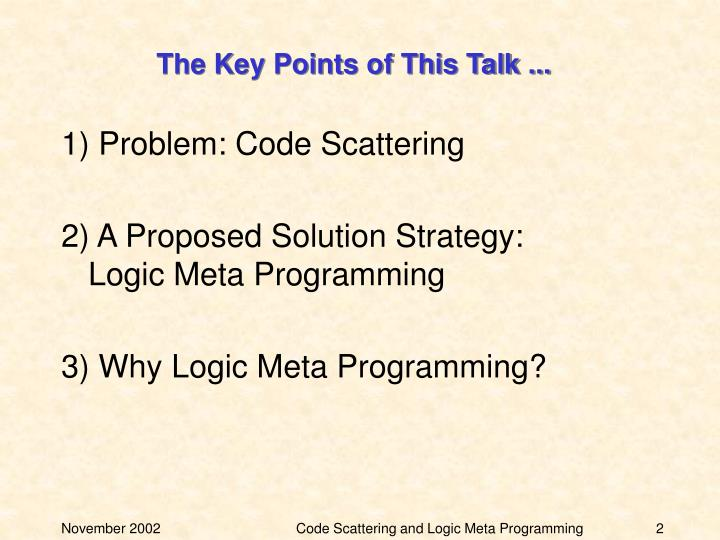 The key points of this talk