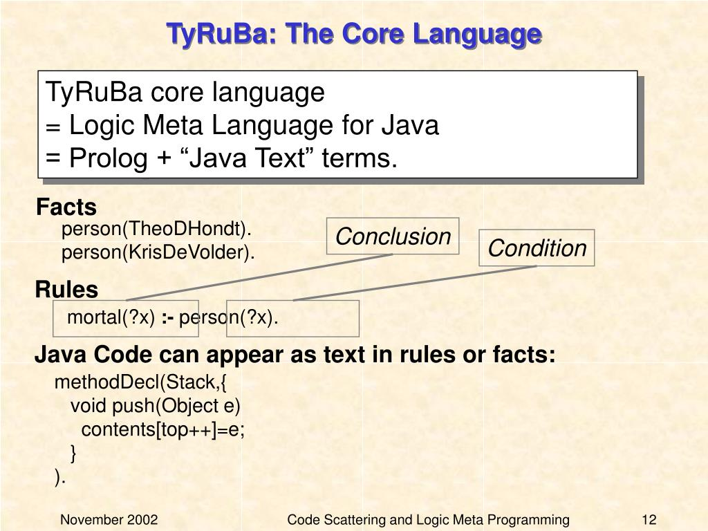 TyRuBa: The Core Language