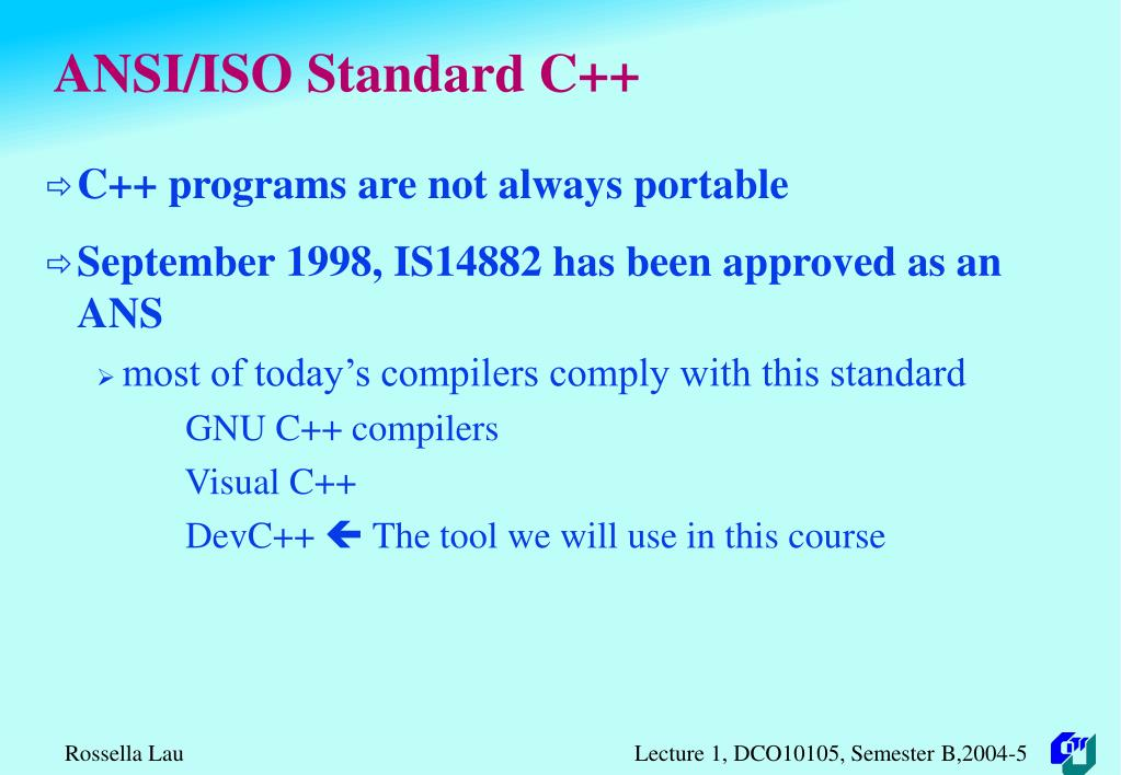 ANSI/ISO Standard C++