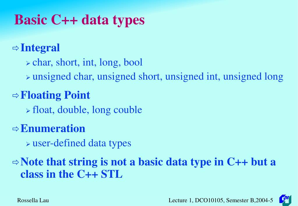 Basic C++ data types