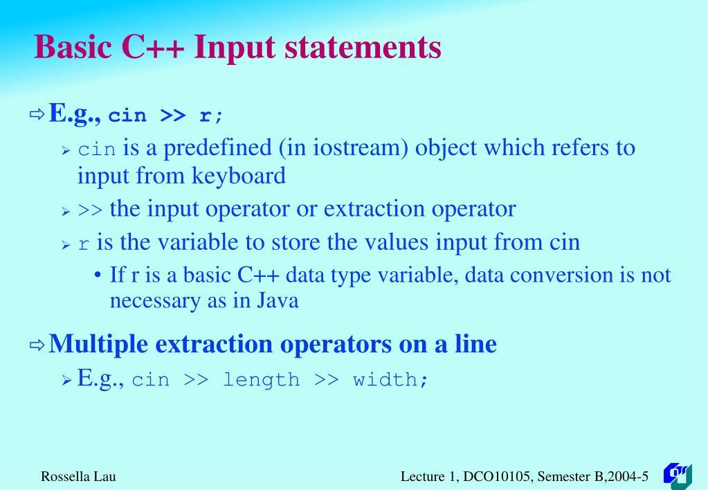 Basic C++ Input statements