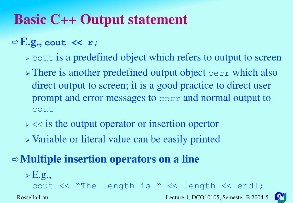 Basic C++ Output statement