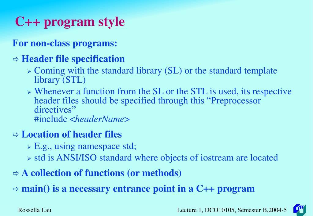 C++ program style