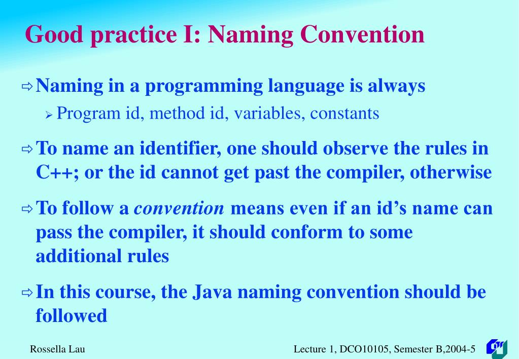 Good practice I: Naming Convention