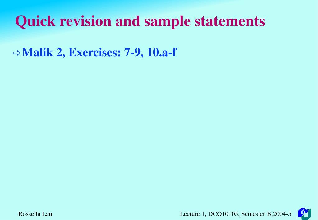 Quick revision and sample statements